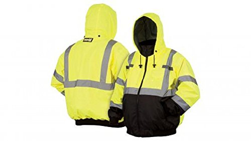 Pyramex RJ3110X5 Lumen X Class 3 Fleece Bomber Safety Jacket, 5X-Large, Hi-Vis Lime