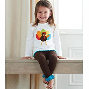 Mud Pie Baby-Girls Newborn Turkey Tunic and Legging Set, Multi, 12-18 Months