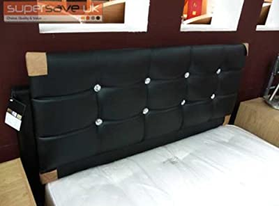 "funkybuys® Faux Leather Black Crystal Diamante Double Bed 4ft6"" Standard Size Headboard Only"