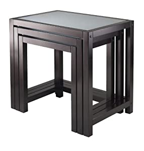 Winsome Copenhagen Nesting Table Set with Glass top, 3-Piece