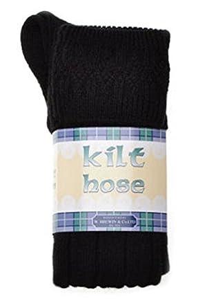 New BLACK KILT HOSE Wool & Lycra Mens Size 9½-13
