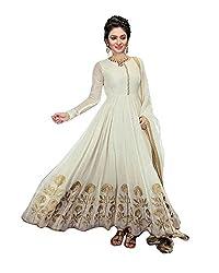 Janasya Women's Cream Embroidered Georgette Dress