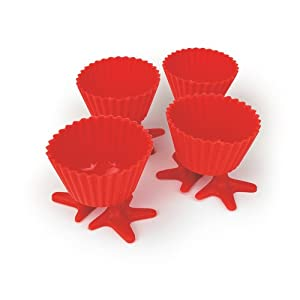 Starfrit Gourmet 80338-004-0000 Set of Four Reusable Red Silicone Muffin Liners with Suction Cup Feet