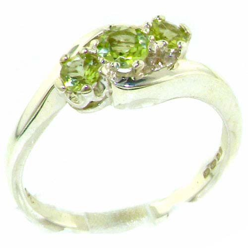 Luxury Solid English Sterling Silver Natural Peridot Trilogy Ring - Size 11.75 - Finger Sizes 4 to 12 Available - Suitable as an Anniversary ring, Engagement ring, Eternity ring, or Promise ring