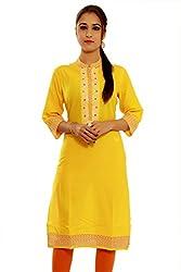 Beautiful Cotton Traditional Womens Kurta (S, Yellow)