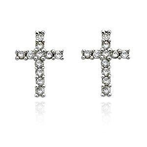 14K White Gold 1/4 ct. Diamond Cross Earrings (Highest Quality)