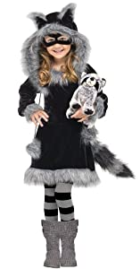 Fun World Kids Toddler Girls Raccoon Halloween Costume 4-6