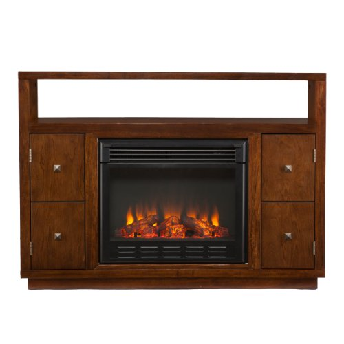 Southern Enterprises AMZ4839FE Hutton Media Console/Stand Electric Fireplace, Brown photo B00FPHPWD8.jpg