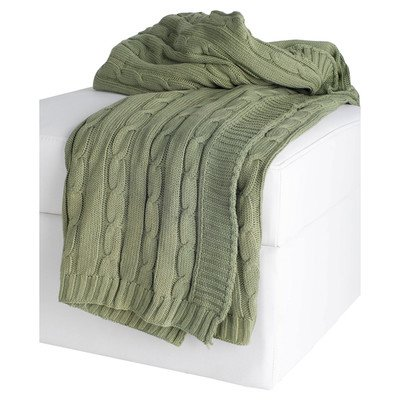 Rizzy Home Cable Knit Sweater Fabric Throw, Olive/Olive
