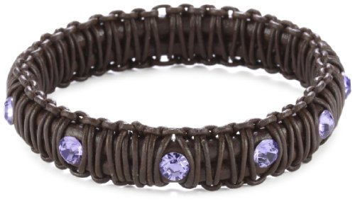 Miguel Ases Leather and Violet Swarovski Bangle Bracelet