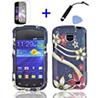 4 items Combo: Mini Stylus Pen + LCD Screen Protector Film + Case Opener + Blue Red White Star Flower Swirl Design Rubberized Snap on Hard Shell Cover Faceplate Skin Phone Case for Straight Talk Samsung Galaxy Proclaim 720C SCH-S720C / Verizon Samsung Illusion i110