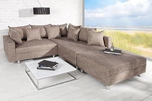 Design Ecksofa mit Hocker LOFT Strukturstoff cappucino Federkern Sofa OT rechts