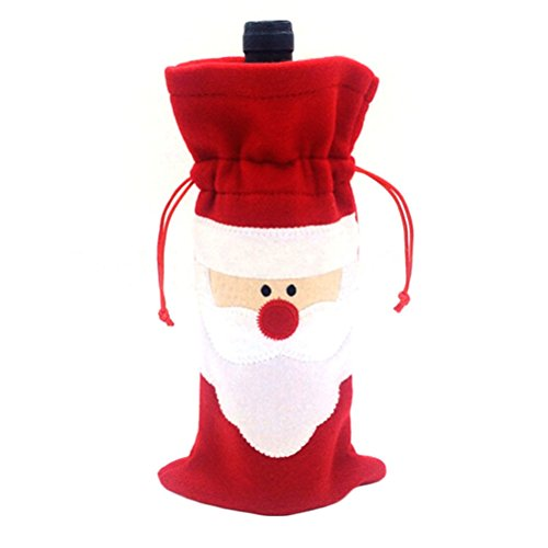 MAPZE 1 Pcs Santa Claus Wine Bottle Cover Christmas Dinner Party Table Decor