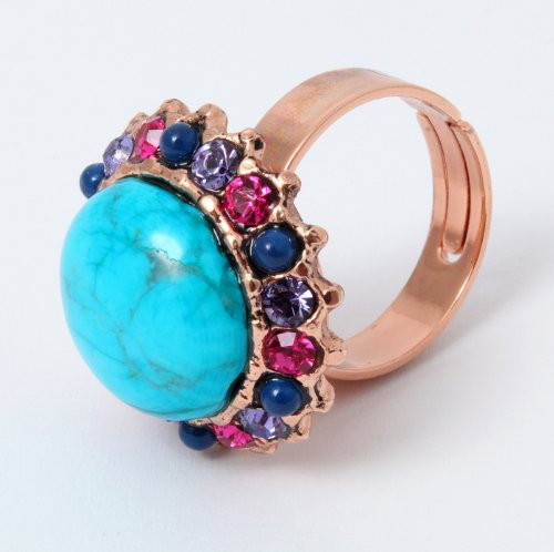 Amaro Jewelry Studio 'Indigo' Collection 24K Rose Gold Plated Feminine Adjustable Ring Designed with Turquoise, Lapis Lazuli and Swarovski Crystals
