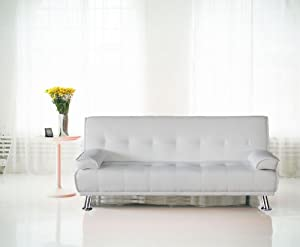 Venice Faux Leather Sofa Suite Sette Sofabed with Chrome Feet