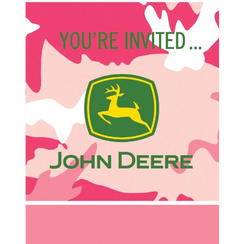 John Deere Pink Invitations (8ct)