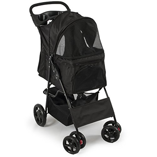 PETZONE© Four Wheel Pet Stroller Dog, Cat & More, Foldable Carrier Strolling Cart, (Black)
