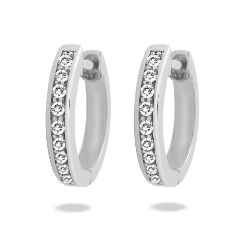 Rafaela Donata Damen-Creolen Classic Collection Zirkonia weiß 925 Sterling Silber 60837065