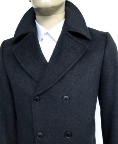 MUGA mens Casmere Long Coat, Black, Size 50R (EU 60)