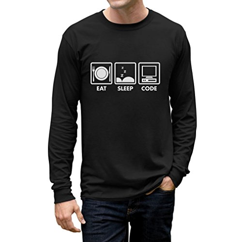 Eat Sleep Code - Funny Gift For Programmer Coder Men's Long Sleeve T-Shirt Large Black