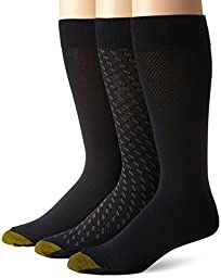 Gold Toe Men's Fashion 3 Pack L Crew Extended Sock, Black, Shoe Size 12-16