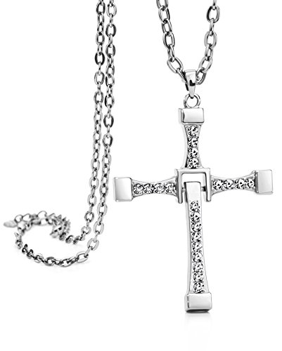 Neoglory Jewelry Gold Plated Fast and Furious Dominic Toretto's Cross Pendant Necklace Vin Diesel (platinum-plated) (Mens Cross Necklace Platinum compare prices)
