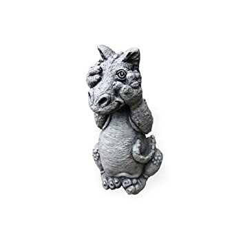 Little Darling Dragon Baby Peek-A Boo - Solid Cast Stone Garden Statue - a Great Home or Garden Idea - Durable, Lifelike Sculpture - Fun Exterior and Interior Art
