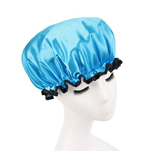 Lvge Microfiber Double Layers Elastic Reusable Waterproof Shower Cap Blue (Hedgehog Hair Brush compare prices)