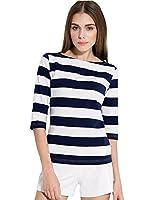 Camii Mia Women's Spring 3/4 Sleeves Cotton Stripe Pattern T-Shirt