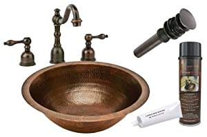 Premier+Copper+Products Premier Copper Products BSP2_LR17FDB Round Under Counter Hammered Copper Sink with Widespread Faucet, Oil Rubbed Bronze