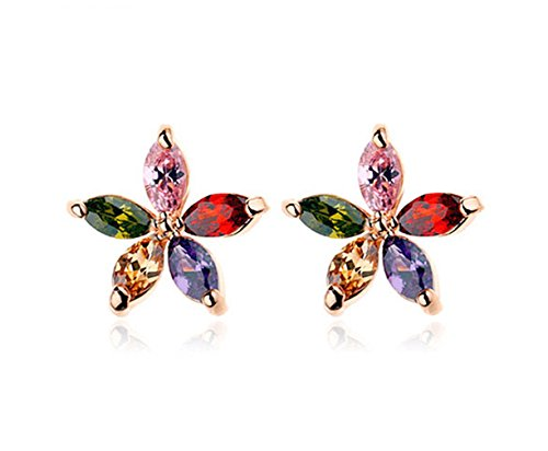 Marquise Cut Multi Color Aaa Cubic Zirconia Flower Stud Earrings Fashion Jewelry For Women