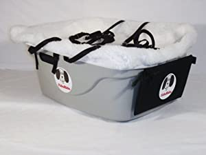 2 Seater Dog Car Seat Finish: Gray, Lining Color: Sherpa White, Harness Sizes: Small and Medium
