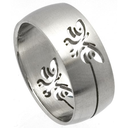 Stainless Steel Laser Cut Ring - Butterfly