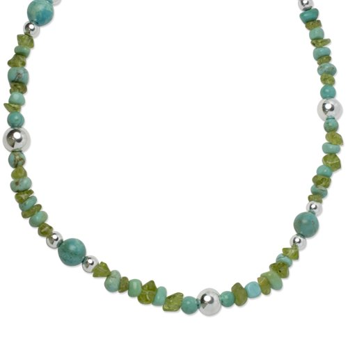Sterling Silver Kingman Turquoise Peridot Beaded Necklace