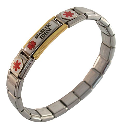 Diabetic IDDM Bracelet Medical Italian Charm Fashion (Italian Dependent compare prices)
