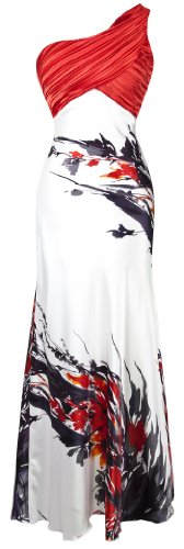 Angel-fashions Women's Fashion One Shoulder Chinese Painting Bridesmaid Maxi Dress Medium