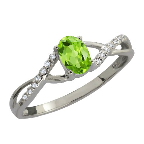 0.58 Ct Oval Green Peridot and White Diamond Sterling Silver Ring