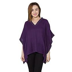 vasstram Stripes Purple Flutter Sleeves Women's Top