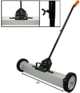 """New 24"""" Rolling Magnetic Sweeper Pick Up Tool Magnet Picks Up to 30lbs"""