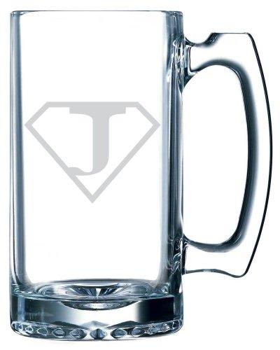 Superman Themed Etched 25oz Libbey Sports Beer Mug (Letter J) (Valentine Beer Mug compare prices)