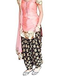 Fliponn Pink Color Party Wear Embroidered Chanderi Semi-Stitched Salwar Suit-FNI160DLAOS3