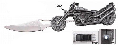 Motorcycle Handle Folding Knife W/ Working Led Headlight