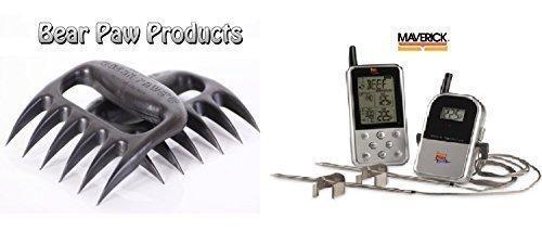 Maverick Et733-Termometro per la carne, colore argento, nuovo essenziale, include Bear Paw Handler forchette, colore: argento
