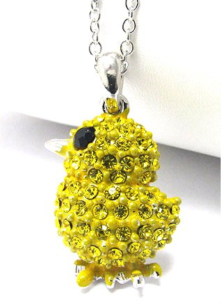Super Cute Yellow Crystal Covered Baby Chick/Chicken Charm Necklace Silver Tone