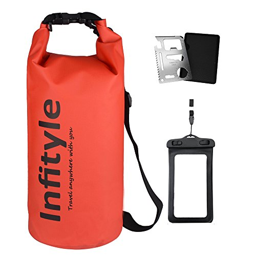 Waterproof Dry Bags - Floating Compression Stuff Sacks Gear Backpacks for Kayaking Camping - Bundled with Phone Case and Pocket Tool (Red,5L) (Colman Duel Fuel compare prices)