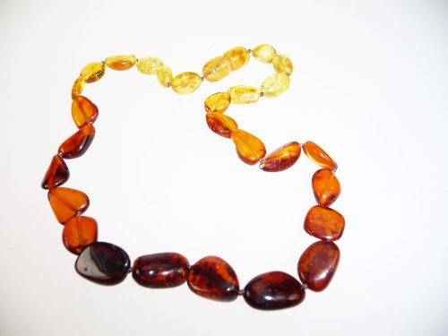 Olive Shape, Multi Amber Teething Baby Beaded Necklace