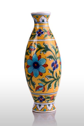 Mothers Day Gift Hand Painted Flower Bud Vase Centerpiece Floral Designs Famous Jaipur Blue Pottery