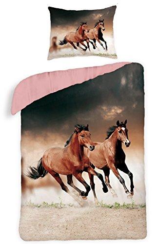 Maxi&Mini - Biancheria da letto composta da copri-piumone da 140 x 200 cm, federa 70 x 90 cm, per camera ragazzi, 100% cotone, motivo: cavalli