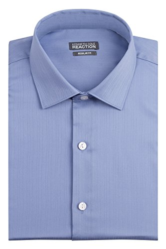 Kenneth Cole Men's Textured Regular Fit Solid Spread Collar Dress Shirt