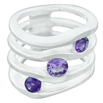 925 Sterling Silver Handmade Amethyst Gemstone Solitaire Ring Size 6 Jewelry